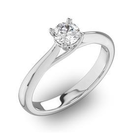 Помолвочное кольцо 1 бриллиантом 0,34 ct 4/5 из белого золота 585°, артикул R-D31518-2