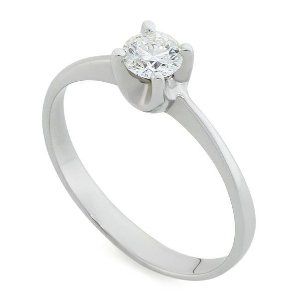 Помолвочное кольцо с 1 бриллиантом 0,30 ct 4/5 белое золото 585°, артикул R-НП007-2