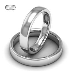 Обручальное кольцо классическое из белого золота, ширина 4 мм, комфортная посадка, артикул R-W345W