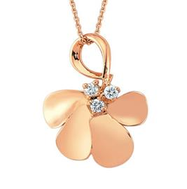 Цепь с подвеской из розового золота с 3 бриллиантами 0,06 ct 3/4, артикул R-NDB00069-01