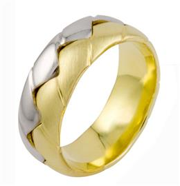 Дизайнерское  обручальное кольцо белое желтое золото, артикул R-A2261