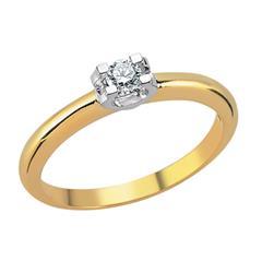 Помолвочное кольцо  из желтого золота 750 пробы с 1  бриллиантом 0,12 карат, артикул R-TRN02089-017