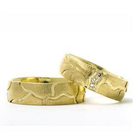 Обручальные кольца парные с бриллиантами из золота 585 пробы, артикул R-ТС 3261 003