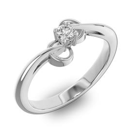 Помолвочное кольцо 1 бриллиантом 0,13 ct 4/5 из белого золота 585°, артикул R-D40445-2