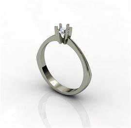 Кольцо c бриллиантом 0,24 ct 3/5  из белого золота 585 пробы, артикул R-GGRJ7-2.16