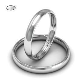 Обручальное кольцо классическое из белого золота, ширина 3 мм, комфортная посадка, артикул R-W635W