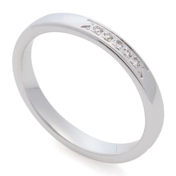 ca38c1b25800 ... Классическое обручальное кольцо из белого золота 585 пробы с дорожкой  из 5 бриллиантов весом 0, ...