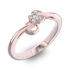 Помолвочное кольцо 1 бриллиантом 0,13 ct 4/5 из розового золота 585°, артикул R-D40445-3