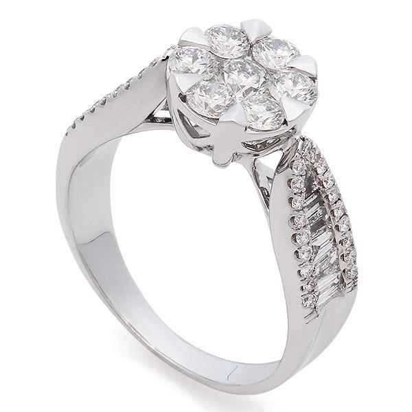 Кольцо с 59 бриллиантами 1,43 ct (в центре 7 бриллиантов 0,82 ct 4 5,  боковые 38 бриллианта 0,23 ct 4 5 и 14 бриллиантов 0,38 ct 3 4) из белого  золота 636813f266d