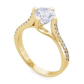 Помолвочное кольцо с 21 бриллиантом 0,73 ct (центр 1 бриллиант 0,59 ct 2/3 по бокам 20 бриллиантов 0,14 ct 4/5) из желтого золота сертификат IGI, артикул R-НП 022-1