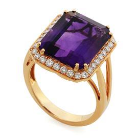 Кольцо с 1 аметистом и 32 бриллиантами 0,57 ct 4/5 из розового  золото, артикул R-MROО5801