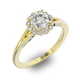 Помолвочное кольцо с 1 бриллиантом 0,7 ct 4/5  и 14 бриллиантами 0,17 ct 4/5 из желтого золота 585°, артикул R-D32652-1