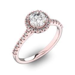 Помолвочное кольцо с 1 бриллиантом 0,7 ct 4/5  и 30 бриллиантами 0,18 ct 4/5 из розового золота 585°, артикул R-D42200-3