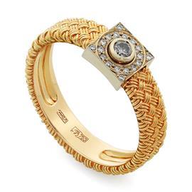 Кольцо с 1 бриллиантом 0,16 ct 3/5 и 18 бриллиантами 0,09 ct 3/5 из желтого и белого золота 585°, артикул R-Ко08Б190013