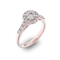Помолвочное кольцо с 1 бриллиантом 0,45 ct 4/5  и 18 бриллиантами 0,45 ct 4/5 из розового золота 585°, артикул R-D35967-3