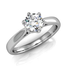 Кольцо с бриллиантом 0,54 ct 2/3  из белого золота 585 проба, артикул R-D38645