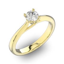 Помолвочное кольцо 1 бриллиантом 0,34 ct 4/5 из желтого золота 585°, артикул R-D31518-1