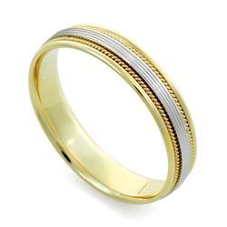 Обручальное кольцо из двухцветного золота 585 пробы, артикул R-V1010м