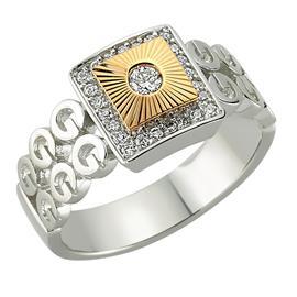 Кольцо с 25 бриллиантами 0,22  ct (в центре 1 бриллиант 0,06 ct 3/4 и боковые 24 бриллианта 0,16 ct 4/4 из белого и розового золота, артикул R-80929