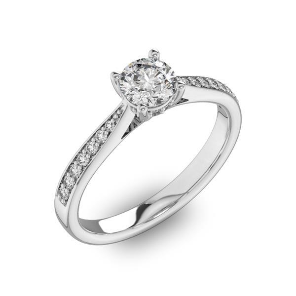 Помолвочное кольцо с 1 бриллиантом 0,45 ct 4/5  и  22 бриллиантами 0,11 ct 4/5 из белого золота 585°