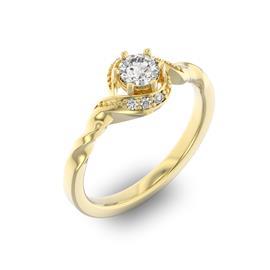Помолвочное кольцо с 1 бриллиантом 0,35 ct 4/5  и 6 бриллиантами 0,05 ct 4/5 из желтого золота 585°, артикул R-D29104-1