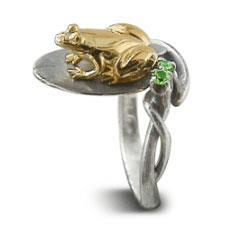 Кольцо Лягушка серебро, артикул R-131306