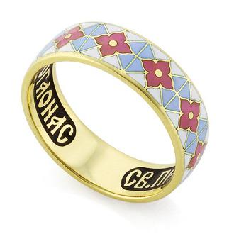 Венчальное кольцо с молитвой к преподобному Серафиму Саровскому, артикул R-КЗЭ0301