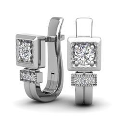 Серьги с 2 бриллиантами 0,5 ct 4/5 и 6 бриллиантами 0,07 ct  из белого золота 585°, артикул R-E46100-3-2