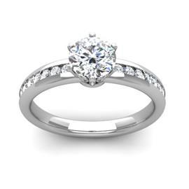 Кольцо с 1 бриллиантом 0,8 ct 4/5 и 16 бриллиантами 0,19 ct 4/5 из белого золота 585°, артикул R-D48304-2