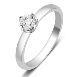 Кольцо с бриллиантом 0,25 ct 4/5  из белого золота 585 пробы, артикул R-НП 074-2.16.5