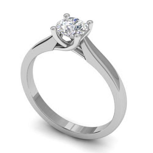 Помолвочное кольцо с 1 бриллиантом 0,40 ct 7/8  из белого золота 585°