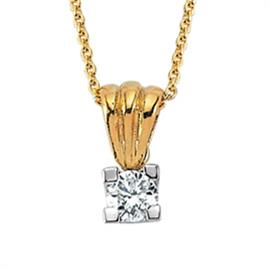 Цепь с подвеской из желтого золота c 1 бриллиантом 0,09 ct 3/5, артикул R-TNK00881-02