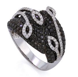 Кольцо с 220 черными бриллиантами 1,92 карат в оправе из белого золота 750 пробы, в сочетании с 92 белыми бриллиантами 0,37 карат     , артикул R-DRN11557-01