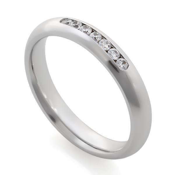 Обручальные кольца с 7 бриллиантами 0,18 ct 4/5 белое золото, артикул R-A14047k-2