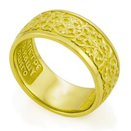 Кольцо с молитвой Петру и Февронии из желтого золота 585°, артикул R-KLZ0502-1