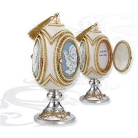 Шкатулка яйцо на серебряной подставке, артикул R-0111825а