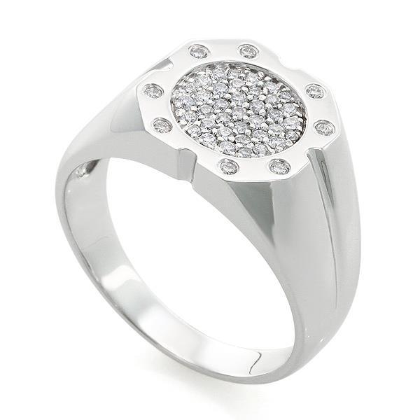 Кольцо с 12 бриллиантами 0,09 ct 4/5 и 33 бриллиантами 0,40 ct 4/5 из белого золота, артикул R-RNO11233