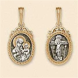 Православный нательный образок  Распятие на кресте, образ Богоматери Иверской, артикул R-14087