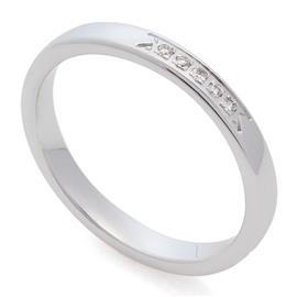 Классическое обручальное кольцо из белого золота 585 пробы с дорожкой из 5 бриллиантов весом 0,03 карат, артикул R-0200901016067