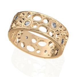Обручальное кольцо дизайнерское из розового золота с бриллиантом, артикул R-W47310-2-3