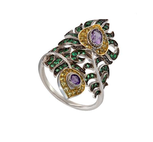 Кольцо Перо павлина золото кубический цирконий, артикул R-ТТ1314-0-8