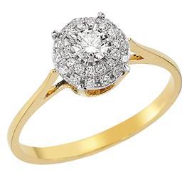 Кольцо с 1 бриллиантом 0,15 ct 3/4 и 28 бриллиантами 0,16 ct 3/4 из желтого золота 750°, артикул R-DRN13761-02