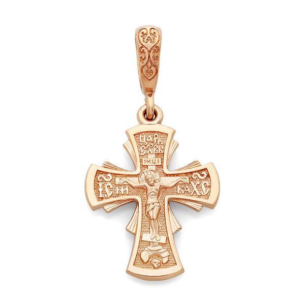 Крест православный нательный Распятие Иисуса Христа, артикул R-KRZ0501-3