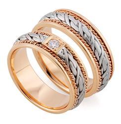 Эксклюзивные обручальные кольца парные из золота 585 пробы, артикул R-тс 1566-3Б1