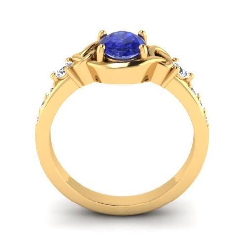 Кольцо с 1 сапфиром 1,00 ct  и 8 бриллиантами 0,19 ct 4/5 из желтого золота 585°