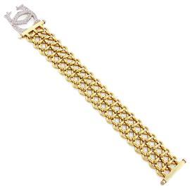 Браслет из белого и желтого  золота 750 пробы с 96 бриллиантами весом 0,87 карат, артикул R-СА440