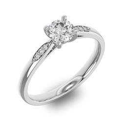 Помолвочное кольцо с 1 бриллиантом 0,45 ct 4/5  и 6 бриллиантами 0,03 ct 4/5 из белого золота 585°, артикул R-D34170-2