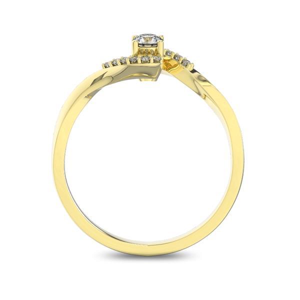 Помолвочное кольцо с 1 бриллиантом 0,15 ct 4/5  и 12 бриллиантами 0,04 ct 4/5 из желтого золота 585°