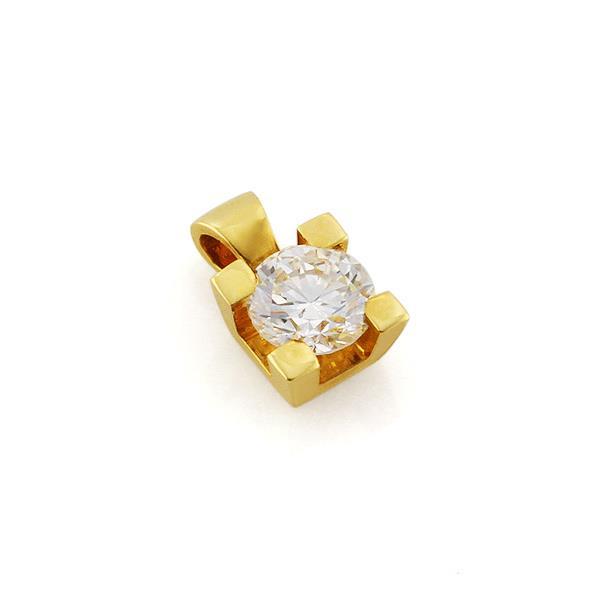 Классическая подвеска из желтого золота 750 пробы с 1 бриллиантом 0,52 карат, артикул R-ПНП 106 (505443)