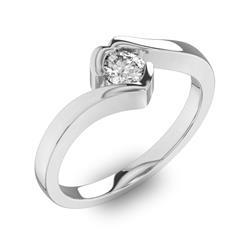Помолвочное кольцо 1 бриллиантом 0,34 ct 4/5 из белого золота 585°, артикул R-D40648-2